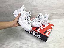 Зимние женские кроссовки Fila,белые,на меху, фото 2