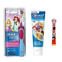 Детская  зубная щетка Oral-B D12. 513 Stages Power (Принцесса) 2 насадки + зубная паста Crest