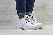 Зимние женские кроссовки Fila,белые,на меху, фото 3