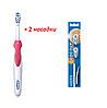 Электрическая зубная щетка Oral-B Cross Action 3D White на батарейке, B1010F (3 насадки в комплекте)