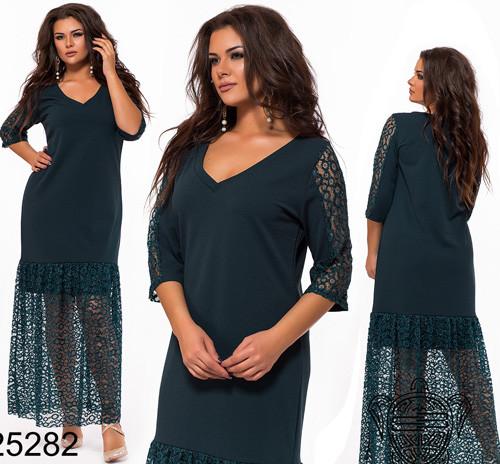 c1ac469753ca095 Вечернее платье для полных с кружевом цвет бутылка 825282 купить ...