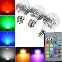 В22/Е27/Е14 5Вт RGB с дистанционным управлением изменения цвета LED Лампа переменного тока 85-265в