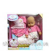 Кукла пупс с корзинкой переноской, набор одежды, памперс