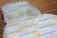 Простынь детская на резинке -Мишки на подушке