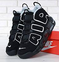 Зимние мужские кроссовки в стиле Nike Air More Uptempo Black/White