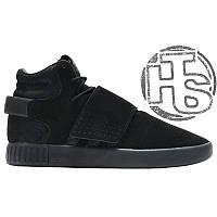 Мужские кроссовки Adidas Originals Tubular Invader Strap Triple Black  Winter (с мехом) BB1169 cffd69c9af633