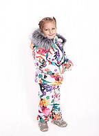 Костюм детский Костюм зимний, куртка и полукомбинезон, белые цветы с бабочками