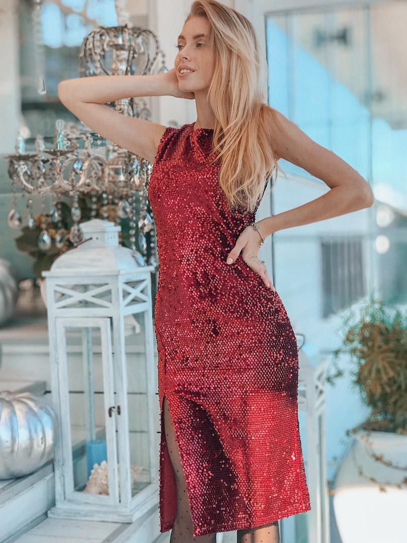b592008ddd17e67 Шикарное нарядное платье из пайеток с разрезом на бедре: продажа ...