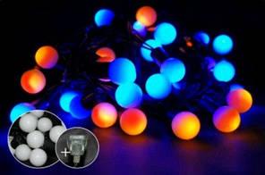 Гирлянда шарики диаметр 18мм string 6,5 м  40 LED, желто-синий К-109
