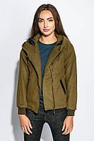 Демисезонная женская куртка с капюшоном цвет хаки