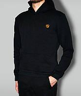 Мужская кофта толстовка черная очень теплая с капюшоном и желтым логотипом ткань Турцыя