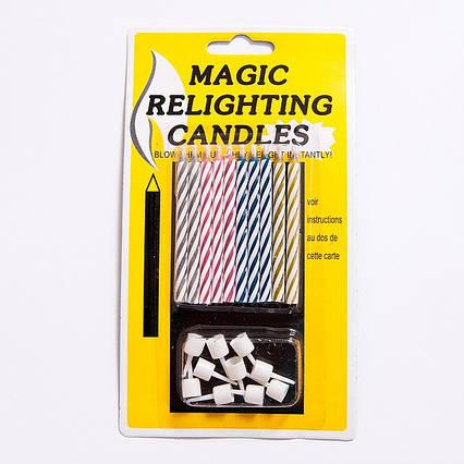"""Набор свечей  для торта """"Магические """"  негаснущие c подставками"""