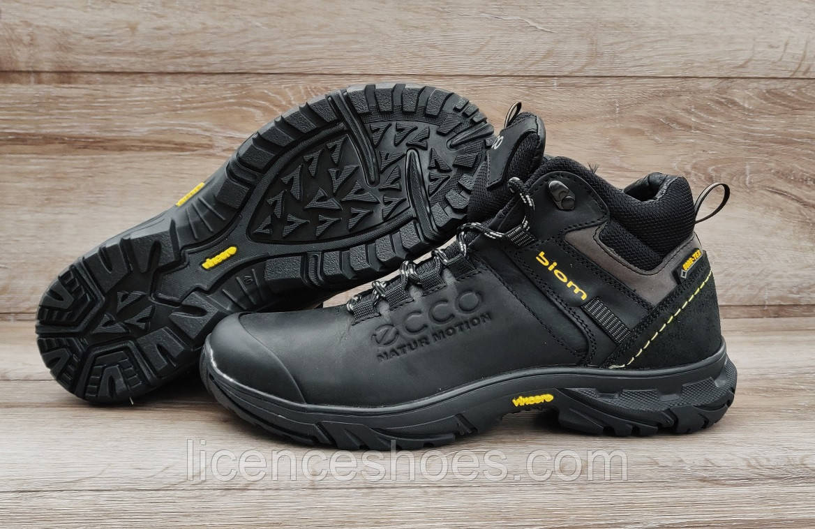 Мужские черные кожаные ботинки Ecco Biom Natur Motion