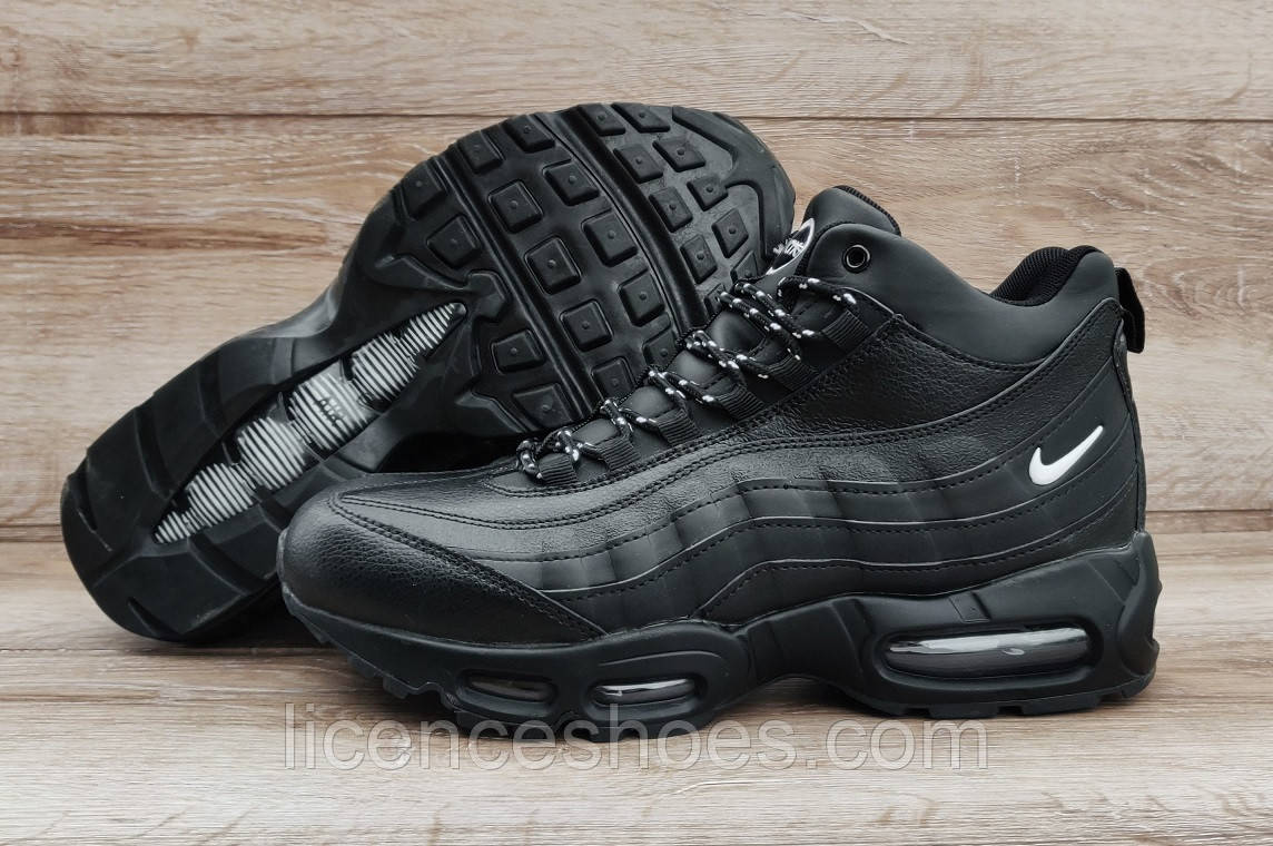 Зимние черные мужские кроссовки ботинки Nike Air Max 95 Black