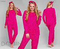 Женская трикотажная пижама с повязкой Батал