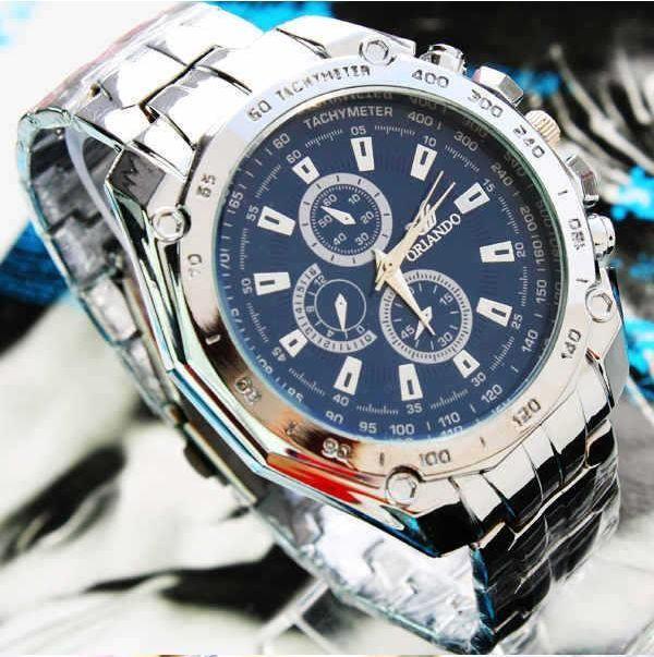 Мужские спортивные наручные часы «Orlando Dark Blue» с металическим браслетом