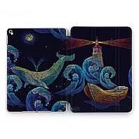 Чехол книжка, обложка для Apple iPad (Синий кит, маяк) Pro 9.7 A1673/A1674/A1675 айпад про case smart cover