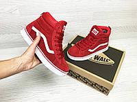 Женские зимние кроссовки в стиле Vans, красные. Код товара  Д - 6785 39 ff2f6167280