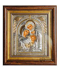 """Икона  серебряная """"Святая Семья"""" 233х257мм  прямоугольной формы под стеклом"""