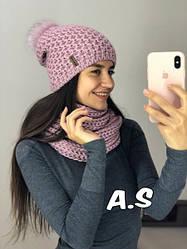 Набор шапка с бубоном и хомут шарф с люрексом