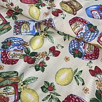 Вафельная ткань с разноцветными банками варенья, ширина 50 см, фото 1