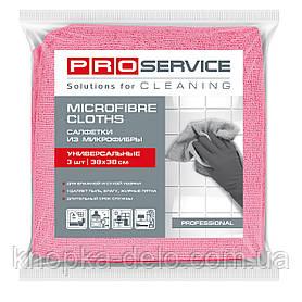 Салфетки PRO service из микрофибры универсальные Professional 38х38 см 3 шт. розовые