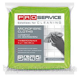Салфетки PRO service из микрофибры универсальные Professional 38х38 см 3 шт. зеленые