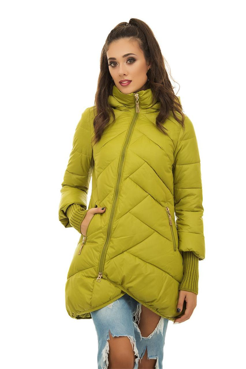 Женская очень теплая зимняя стеганная куртка пуховик со съемным капюшоном и змейкой наискосок