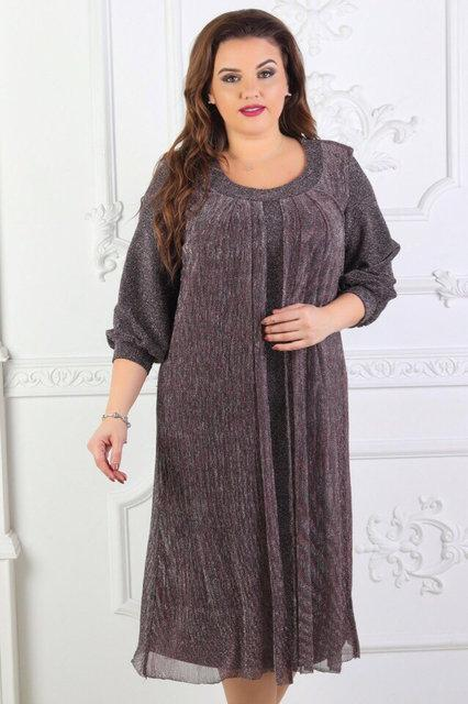 Нарядное платье с пришивным кардиганом люрекс Размер 54,56,58,60