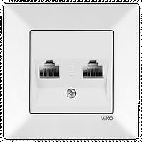 Розетка компьютерная 2 гнезда (белый) Viko Meridian