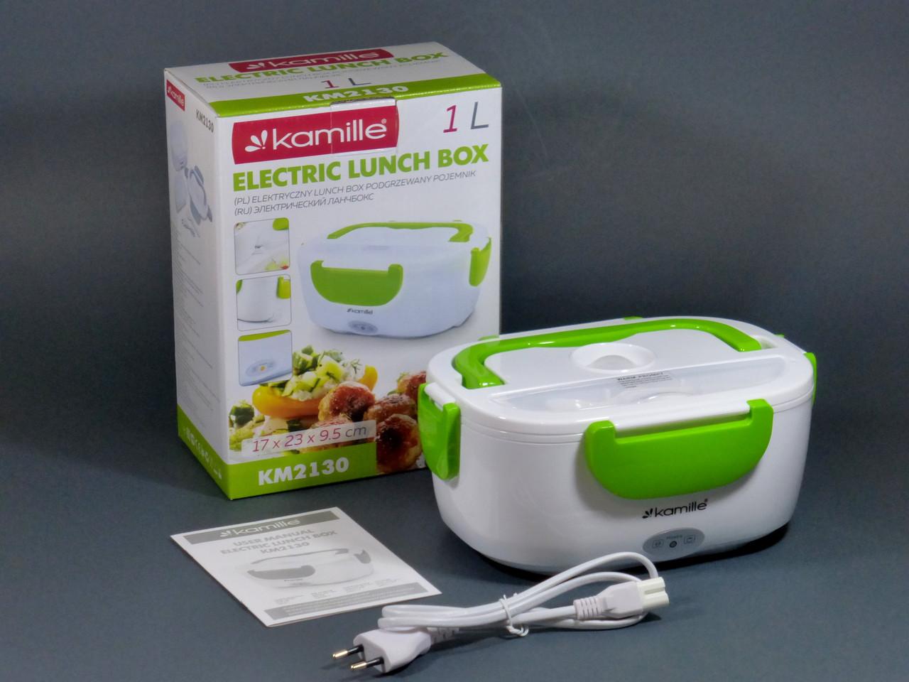 Электрический ланчбокс для еды Kamille 1л (17х23х9,5см) пищевой ланч бокс с электро-подогревом от сети