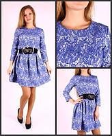 Платье приталенное с набивным рисунком на ткани в двух расцветках 138