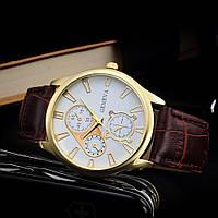 """Мужские классические наручные часы """"Geneva Gold"""" c коричневым ремешком"""