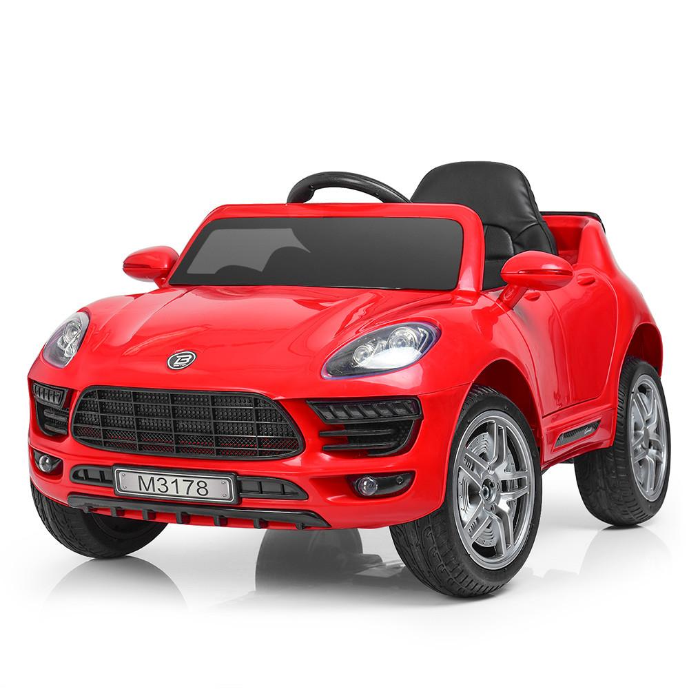 Детский электромобиль PORSCHE MACAN M 3178 EBLR-3: 2.4G. EVA-колеса, 60W, кожа - КРАСНЫЙ-купить оптом