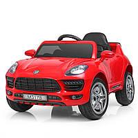 Детский электромобиль PORSCHE MACAN M 3178 EBLR-3: 2.4G. EVA-колеса, 60W, кожа - КРАСНЫЙ-купить оптом , фото 1