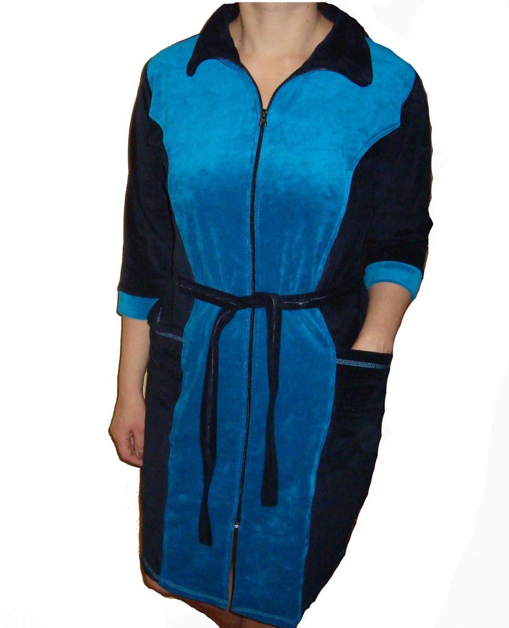 Халат велюровый женский на молнии  голубой
