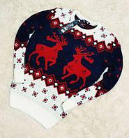Мужской зимний свитер шерстяной с оленями красными на синя-белом