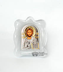 """Икона серебренная   """" Спаситель Иисус """" в муранском стекле 70х90мм"""