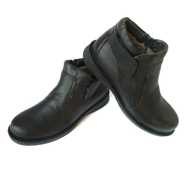Мужские зимние ботинки kadar Луцк кожаные, черного цвета, на натуральной шерсти, повседневные