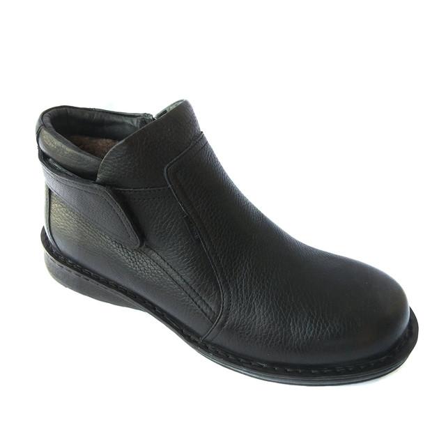 Мужские кожаные зимние ботинки kadar Луцк черного цвета, на шерсти, повседневные с липучкой