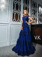 Роскошное вечернее кружевное длинное платье с красивым лифом и оборками 871056100ba0a