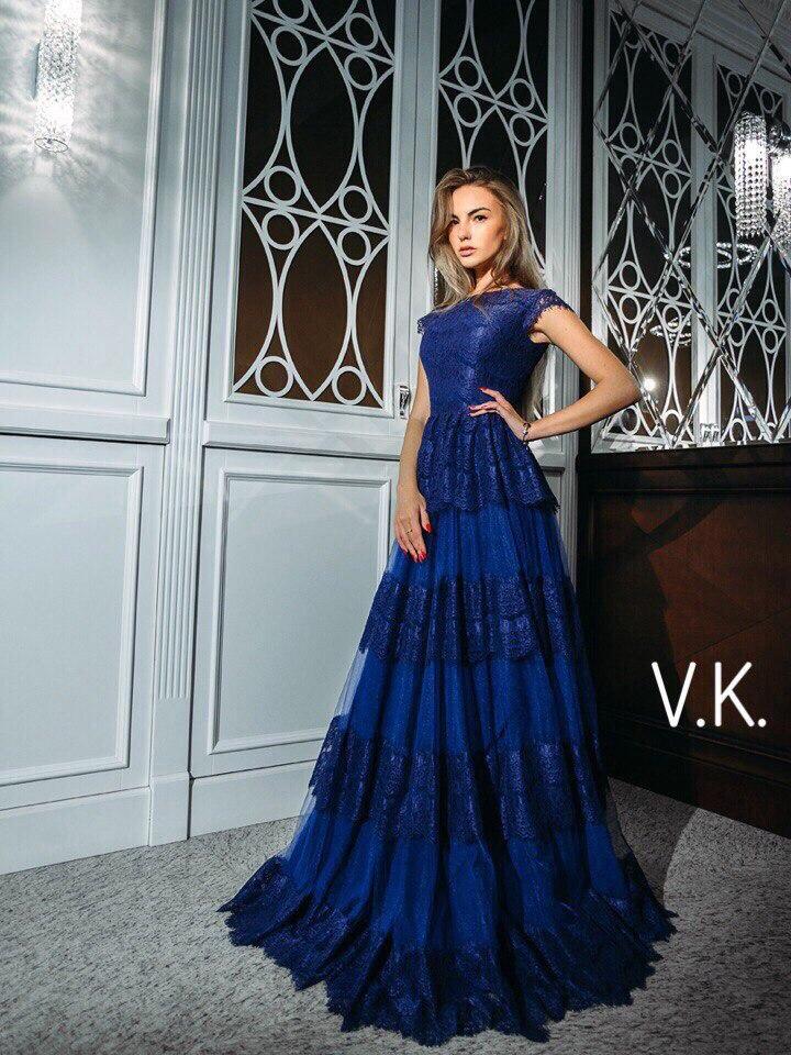 Роскошное вечернее кружевное длинное платье с красивым лифом и оборками, батал большой размер 50 - AMONA  интернет-магазин модной одежды в Одессе