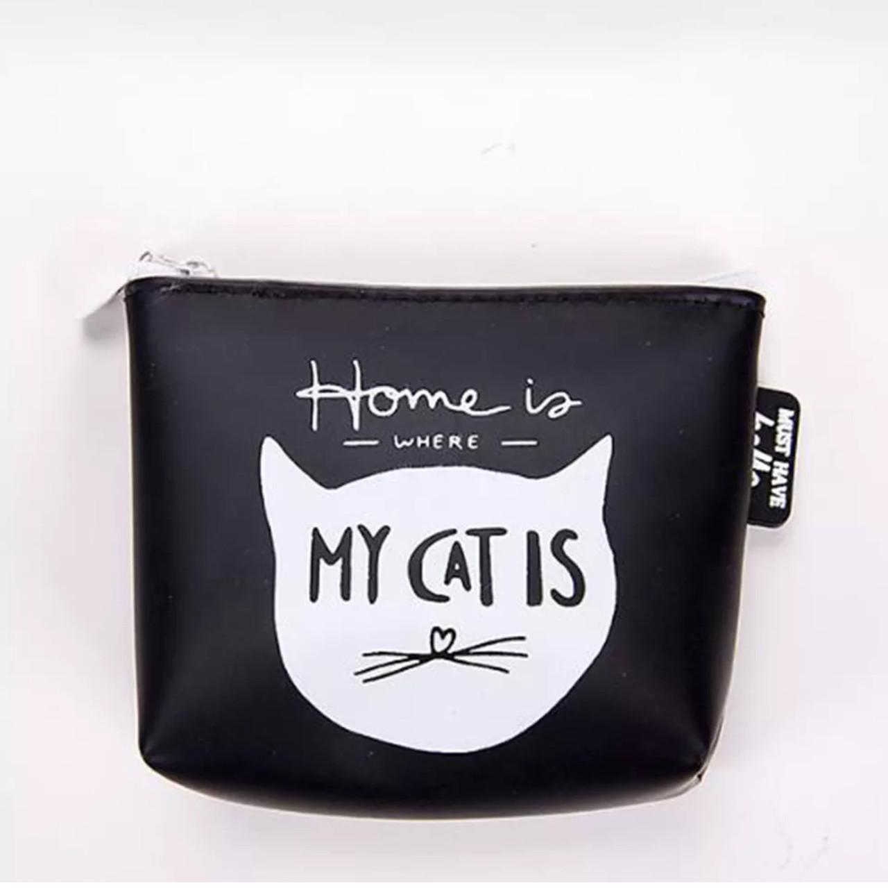Кошелек-ключница на молнии резиновый «Black Cat» (черный)