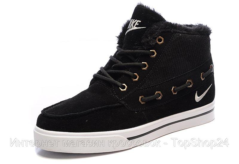 "Зимние кроссовки на меху Nike Sweet Classic ""Black/White"" (Черные/Белые) (реплика А+++ )"