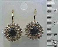 Золотые серьги с черными камнями и стразами оптом .150