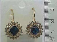 Золотые серьги с синими камнями и стразами оптом .151