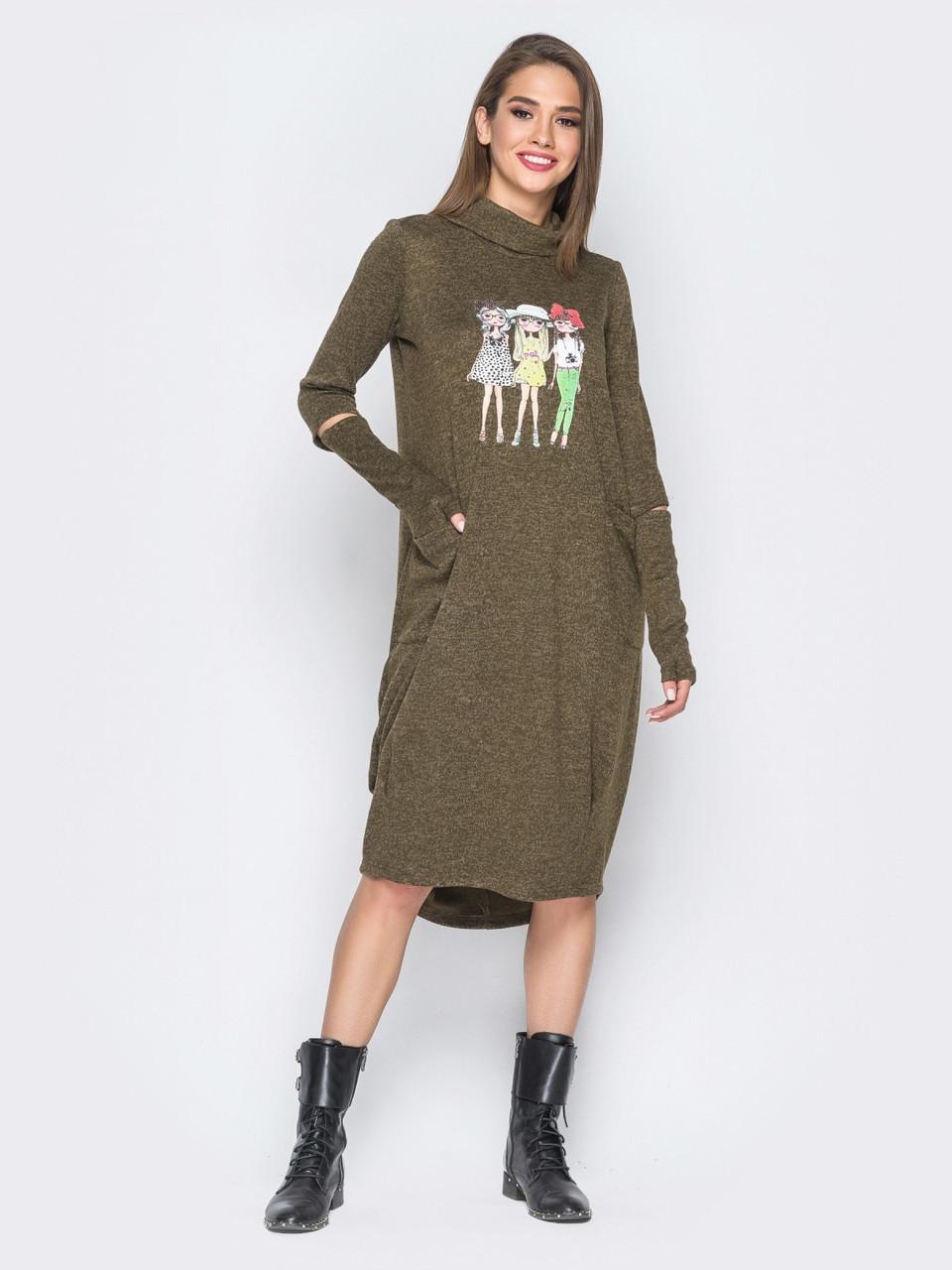 f54300be85e Молодежное трикотажное платье с аппликацией на полочке р.44