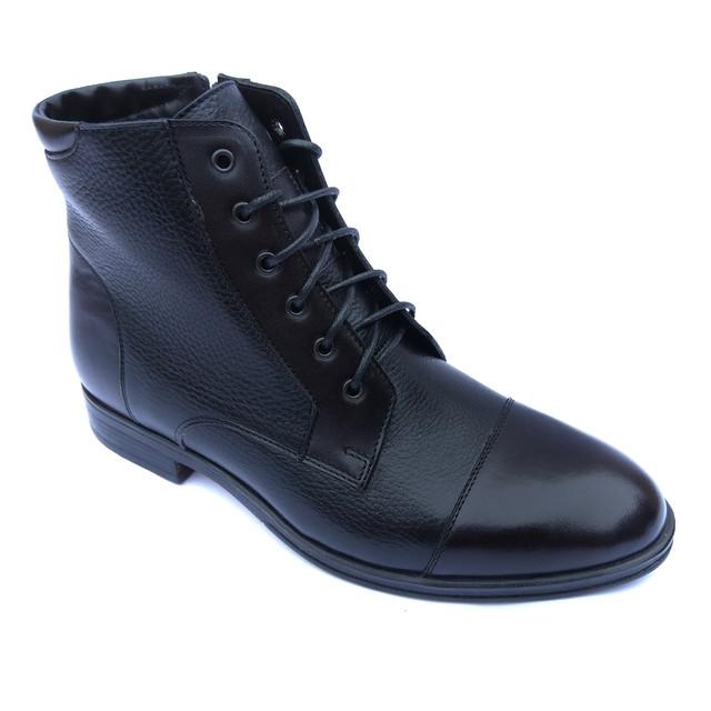 Зимние высокие кожаные ботинки мужские, черного цвета, на цегейке, от фабрики Ікос Луцк, классического стиля