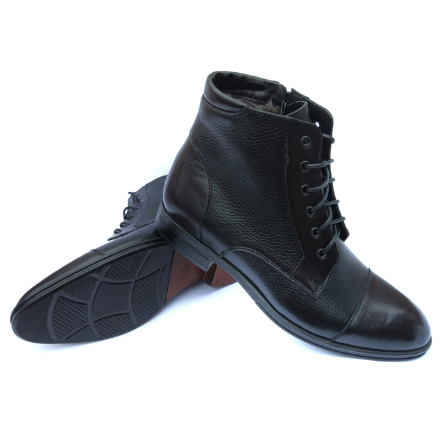 Высокие классические кожаные зимние ботинки мужские, черного цвета, на натуральном меху, от фабрики Ікос Луцк