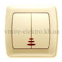 Выключатель двойной с подсветкой Viko (Вико) Carmen (Кармен) кремовый